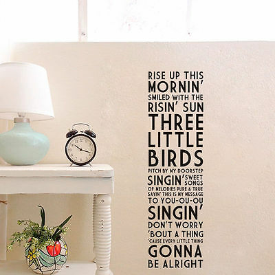 Bob Marley Rise Up Three Birds Be All Right Vinyl Wall Decal Home Decor