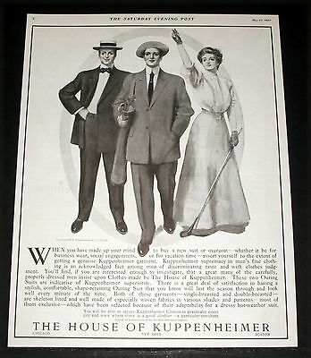 1907 Old Magazine Print Ad, House Of Kuppenheimer, Men And Women's Fashion Art!