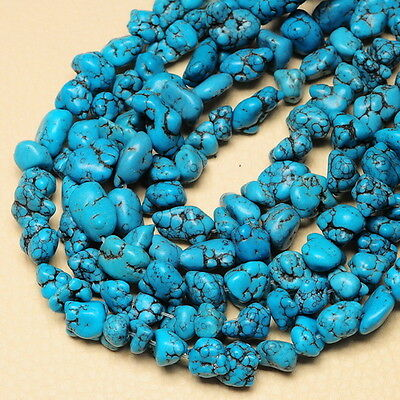 17X10X7MM - 11X8X5MM BLUE STABLIZED TURQUOISE GEMSTONE NUGGET BEADS STRAND 15 1/