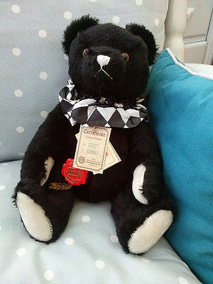 Hermann Teddy Original Limited Edition Bear with Labels. Black with White Paws