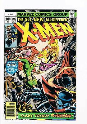 X-Men # 105  The Flame, The Frenzy & Firelord !   grade 8.0  scarce hot book !!
