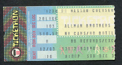 1979 Allman Brothers concert ticket stub In Memory of Elizabeth Reed Nassau Col.