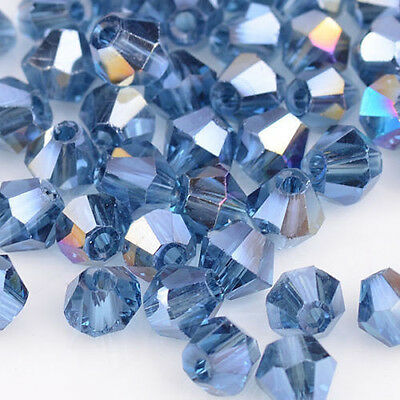 100pcs ink blue AB Glass Crystal 4mm #5301 Bicone Beads loose beads @