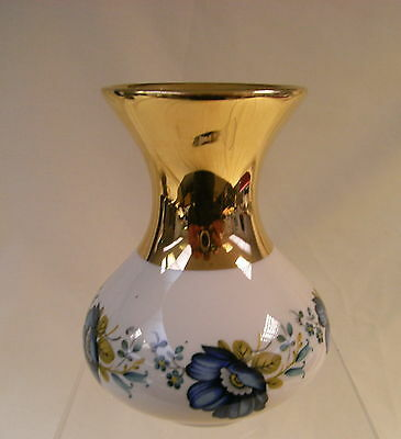 Prinknash Pottery Small Decorative Vase with Gold Neck and Floral Pattern