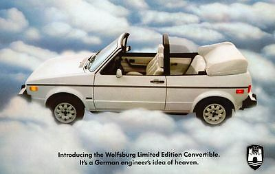 1984 Volkswagen Rabbit Convertible Wolfsburg LE Large Factory Postcard my1837
