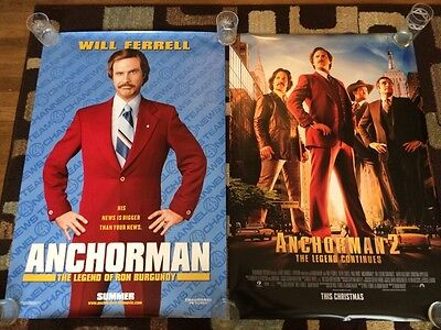 Anchorman & Anchorman 2 Original Movie Poster 27x40 Double Sided Lot Of 2