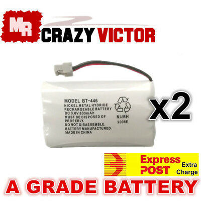 2x 800mAh Replacement Battery 4 Uniden BT-446 BT-909 BT-750 3.6V Cordless Phone