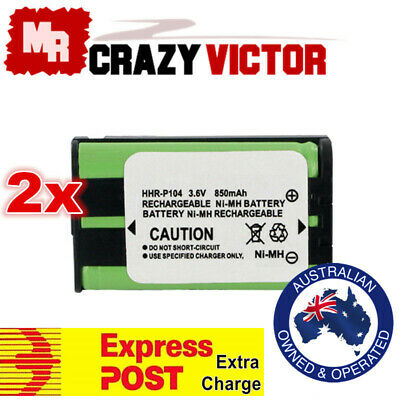 2x Replacement Battery For Panasonic Cordless Phone HHR-P104 HHR-P104A HHR P104