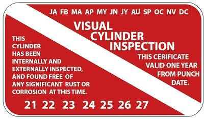Scuba VISUAL CYLINDER INSPECTION tag sticker/decal tank certificate (20 pack)