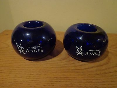 SET OF 2 COBALT BLUE TEALIGHT HOLDERS / TOUCHED BY AN ANGEL