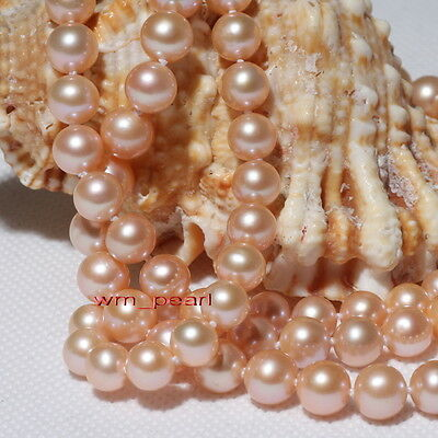"""long round AAAAA 35""""10-11mm REAL NATURAL south sea GOLD PINK pearl necklace 14K"""