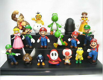 "Free Shipping New Super Mario Bros 1.5~2.5"" Lot 18 pcs Action Figure Cute Doll"