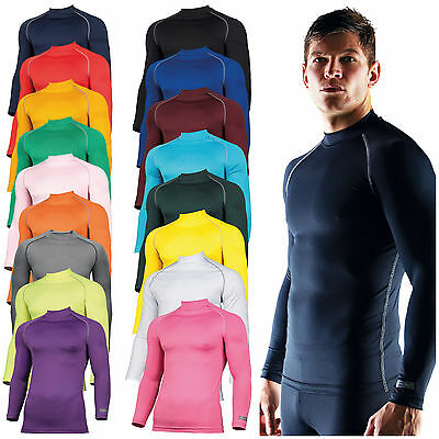 Mens Long Sleeve Base Layer Top Compression Armour Top Thermal Gym Sports Shirt