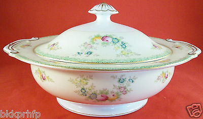 VTG MEITO CHINA N.S.P. Floral Covered Vegetable Serving Bowl Cream, Bright White
