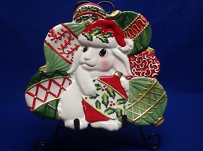 Fitz and Floyd Christmas Bunny Bloom Canape Plate