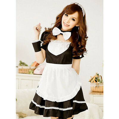 New Hot Cute Sexy Sweet French Maid Party Cosplay Uniform Costumes Fancy Dresses