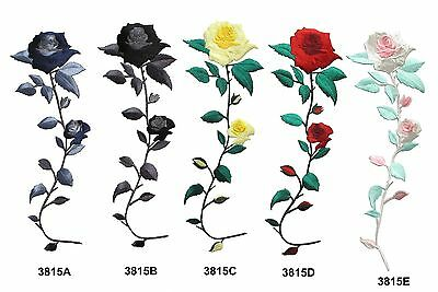 Pink,Red,Yellow,Blue,Black Rose Flower Embroidery Iron On Applique Patch-XL