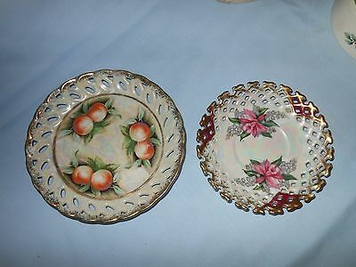 two Lacework Saucers, one marked Napco China. Both handpainted, gold edged. VGC