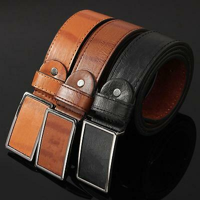 Men's Waistband Leather Metal Automatic Buckle Casual Dress Belt Waist Strap New