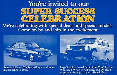 1983 AMC Renault Alliance Jeep Cherokee ORIGINAL Large Factory Postcard my2034