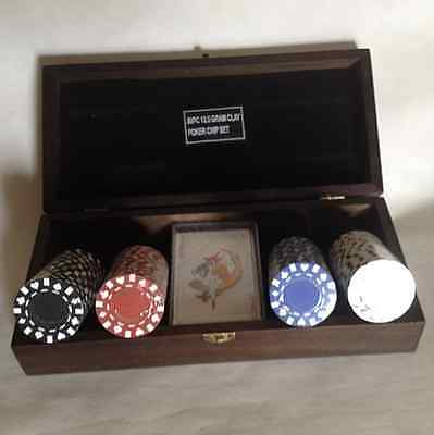 New Poker chip set 13.5g 80 Clay Card Deck & Wood Case Fast Shipping USPS