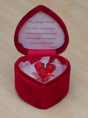 RED ROSES Heart Box & LOVE Verse@Glass@Red Love Flowers VALENTINES ROSE Gift Set