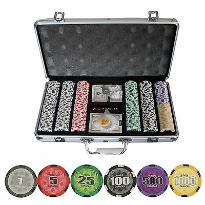New 300 Ct Poker Caracas Star Clay Poker Chip Set with Aluminum Case