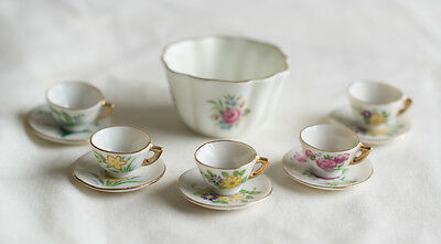 Sanford Bone China Miniature Tea Set White with Flowers, (English) Dollhouse