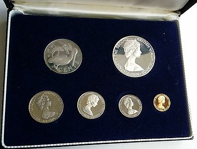 1974 FM British Virgin Islands 6 Coin Proof Set COA Including Silver Dollar