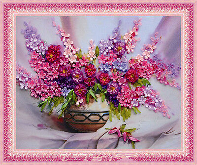Luxury Colourful Pink Flower Vase 3D Ribbon Embroidery Diy Kit 50*60CM Gift New