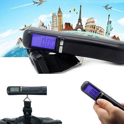 Portable 50kg 110lbs Digital Hanging Luggage Weight Electronic Strap Scale US