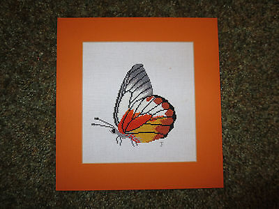 "Colorful BUTTERFLY 18-Count  Cross Stitch W/ Matching Matting - 4 3/4"" Sq Design"