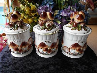 vintage ceramic kitchen CANISTER set mushrooms coffee tea sugar
