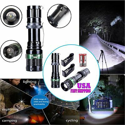 2PC 2000Lumens Zoomable CREE XM-L T6  LED Flashlight Torch +2X Battery & Charger