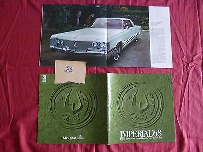 22  /   CHRYSLER : catalogues imperial 1968 ,english text