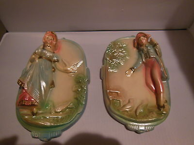 Vintage Pair of Chalkware Wall Plaques - Colonial Man & Woman