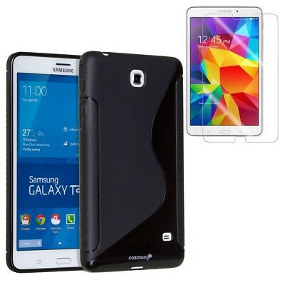 for Samsung Galaxy Tab 4 7 Inch Tablet Black S-Line Shape TPU Case Cover +Film