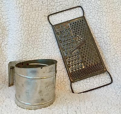Vintage Foley Metal Flour Sifter And All In One Cheese Slaw Grater Lot Of 2