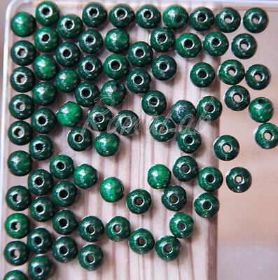 85 PERLE PERLINE DA 8 MM rotonde IN LEGNO verniciato verde scuro spacer