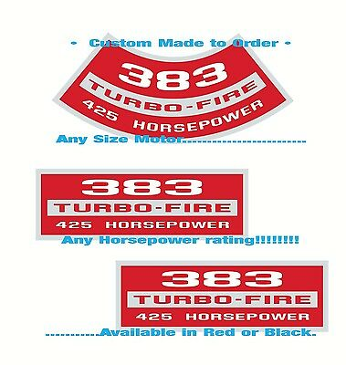 Chevy SB• Air Cleaner+Valve Cover Decals SET• Any CID • Any HP   Custom Made!