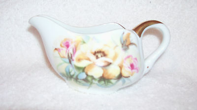Vintage LEFTON Hand Painted Creamer - Yellow and Pink Roses, Gold Trim & Handle