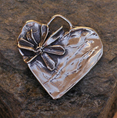 Organic Rustic Sterling Silver BE JOYFUL Heart Pendant
