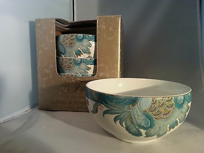 222 Fifth Eliza Teal Soup Cereal Bowls 4 NEW ~Mixes well with Peacock Garden MIB