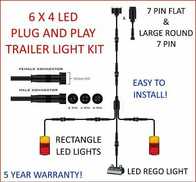 6x4 TRAILER LED WIRE KIT EASY TO INSTALL PLUG AND PLAY WIRING RECTANGLE DIY