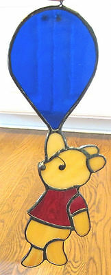 Disney Winnie the Pooh HAND MADE STAINED GLASS ART traveling by balloon