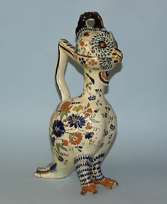 Rare Antique European French ? Ceramic Pottery Novelty Jug & Cover Bird Shaped