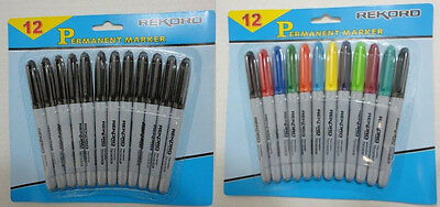 60 Black or Colored Fine Point Permanent Markers f School Office Crafts BULK LOT