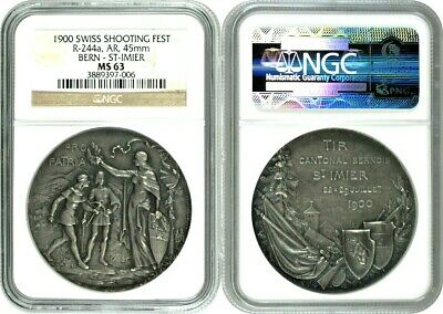 Swiss 1900 Silver Shooting Medal Bern St-Imier R-244a NGC MS63 Mintage-200