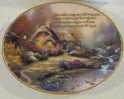 THOMAS KINKADE Plate ~ EVERETT'S COTTAGE ~ Guiding Lights Collection~ COA Bradex