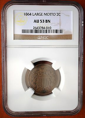 "1864 US 2 Cents ""Union Shield"" Large Motto NGC AU 53 BN Bronze Coin"